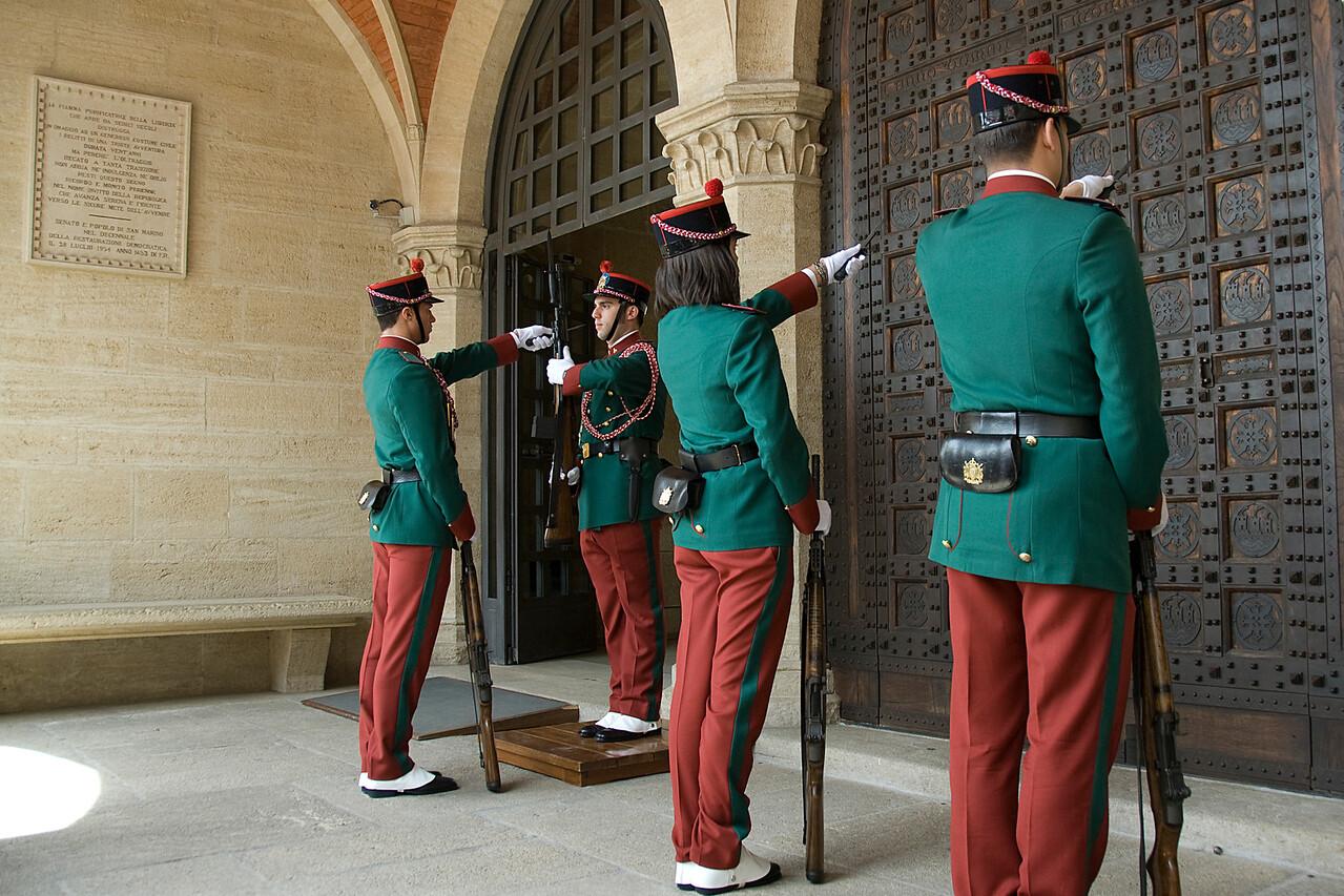 Guards lined up Palazzo del Governo di San Marino