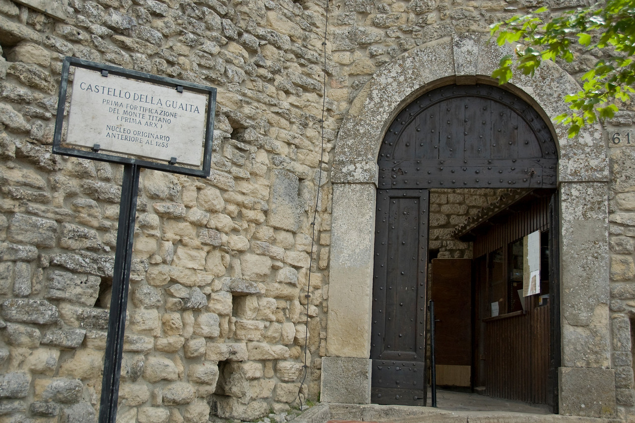 Entrance door and sign to Guaita Castle in San Marino