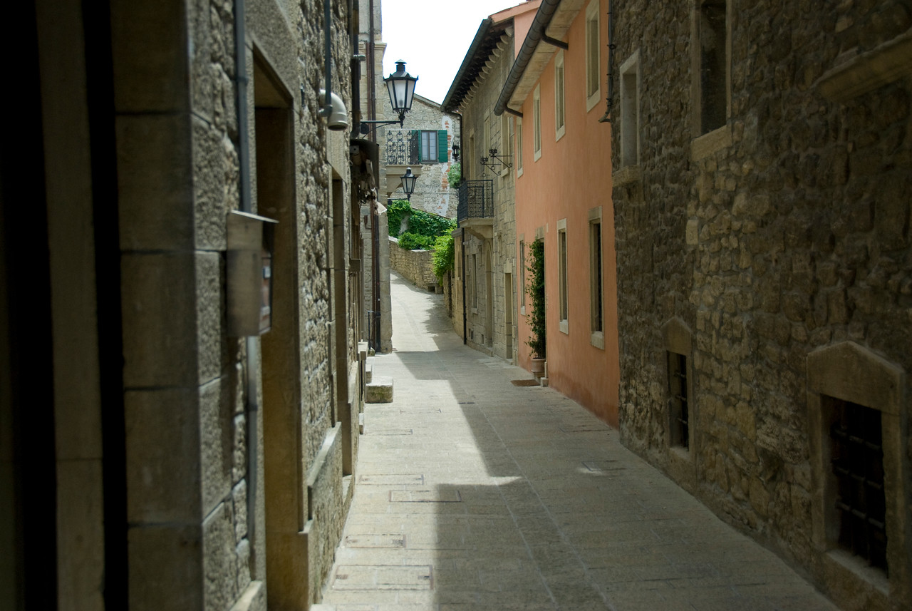 Empty alley in the Republic of San Marino