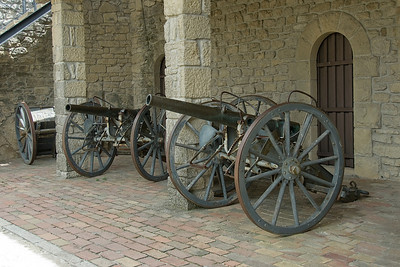 Steel cannons at Guaita Castle in San Marino