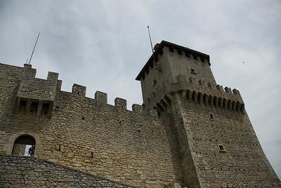 The walls of Guaita Castle in San Marino