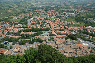 Overlooking view of the metropolis area in San Marino