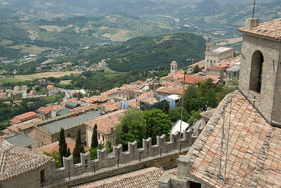 Overlooking view from the towers of Guaita Castle in San Marino