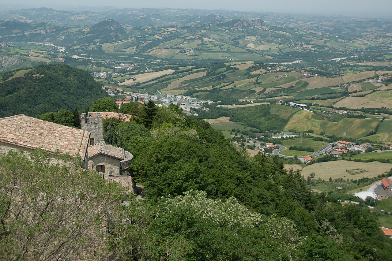 Overlooking view of the city in San Marino