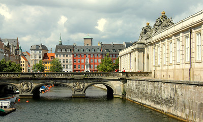 Marble Bridge Over Frederiksholms Canal and the entrance to Christiansborg Palace on the right Copenhagen, Denmark