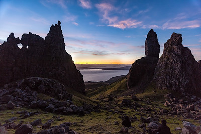 The old man of storr is a dramatic scene at dawn - after a 45 minute up hill hike in the dark.