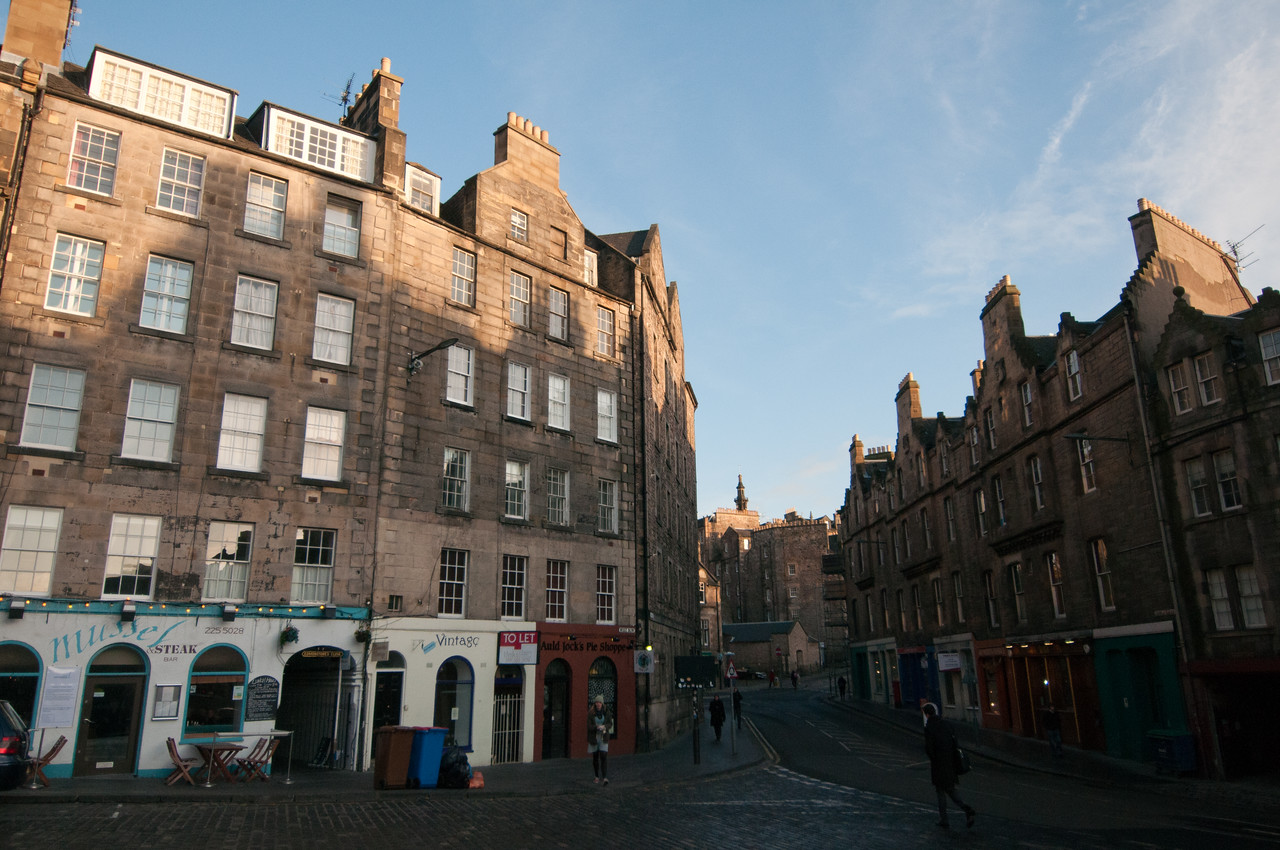 Quiet intersection in Edinburgh, Scotland