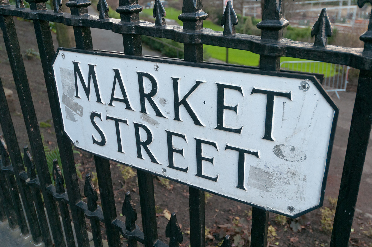 Sign at the Market Street in Edinburgh, Scotland