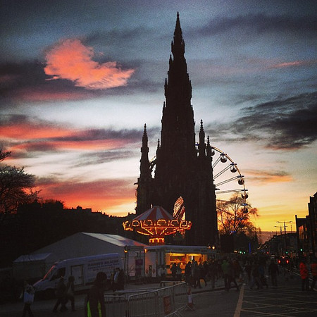 Winter sunset, #Edinburgh style. Scott monument and ferris wheel silhouette #blogmanay
