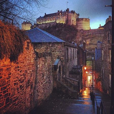 Dusky lane, Heriot Place en route to #Hogmanay procession #Edinburgh castle