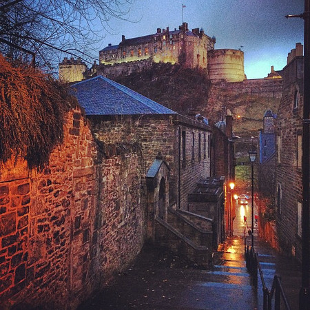 Dusky lane, Heriot Place en route to #Hogmanay procession #Edinburgh castle