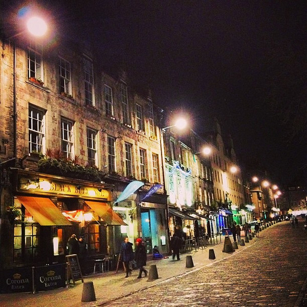 Grassmarket at night, #Edinburgh -- once a place of horse-trading and public executions