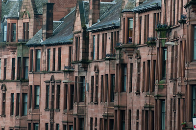 Rows of buildings in Glasgow, Scotland