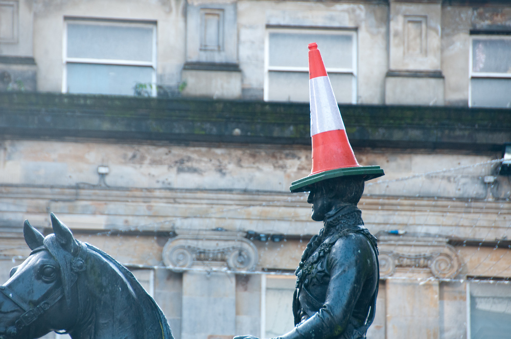 The Duke of Wellington Statue Capped by a Cone in Glasgow, Scotland