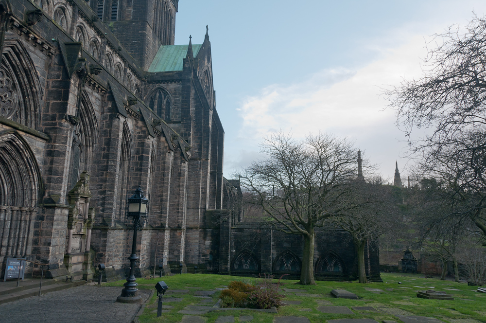 Outside the Glasgow Cathedral in Glasgow, Scotland