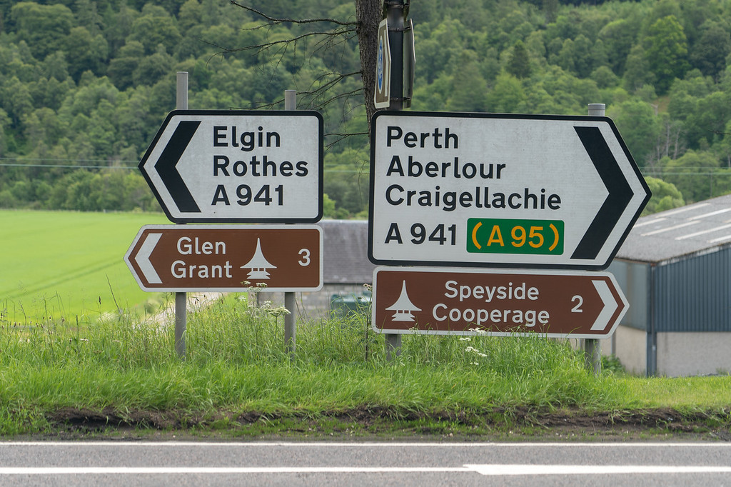 Road signs in Speyside