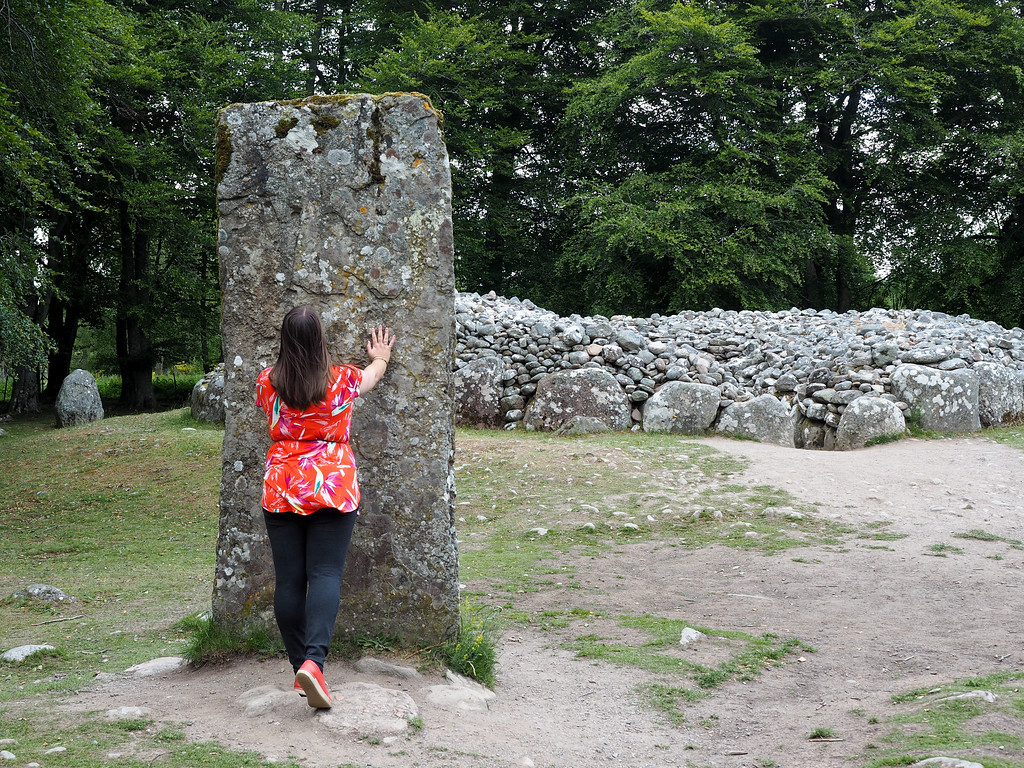 A standing stone at Clava Cairns