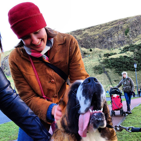 Audrey and St. Bernard Dog at Dogmanay, Edinburgh