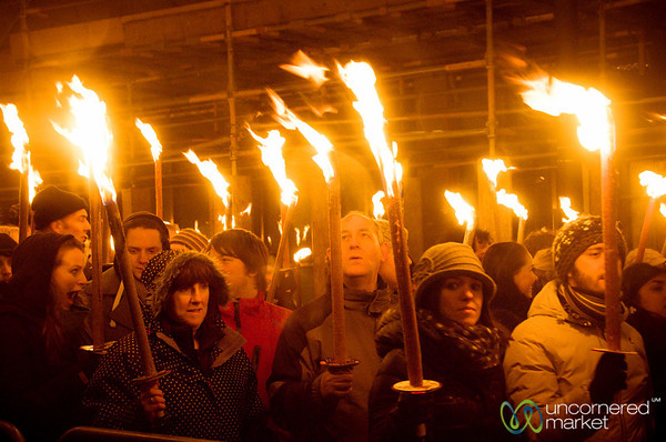 Edinburgh Torchlight Procession, People with Torches