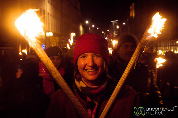 Audrey with Torches - Edinburgh's Torchlight Procession
