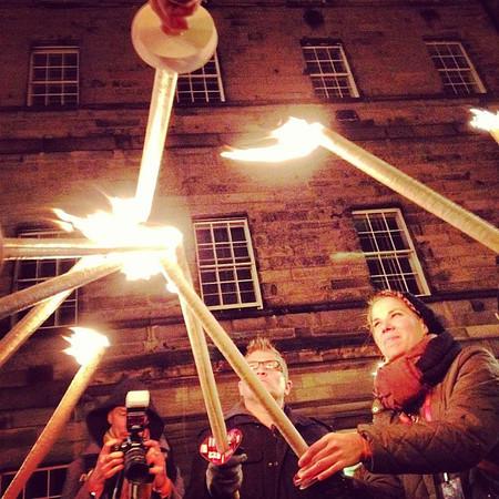 We make fire. Beeswax and burlap torch lighting, #Hogmanay procession #Edinburgh #blogmanay