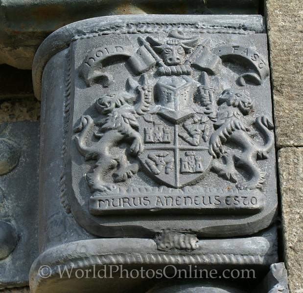 Skye - Dunvegan Castle - Coat of Arms on Rain Drain