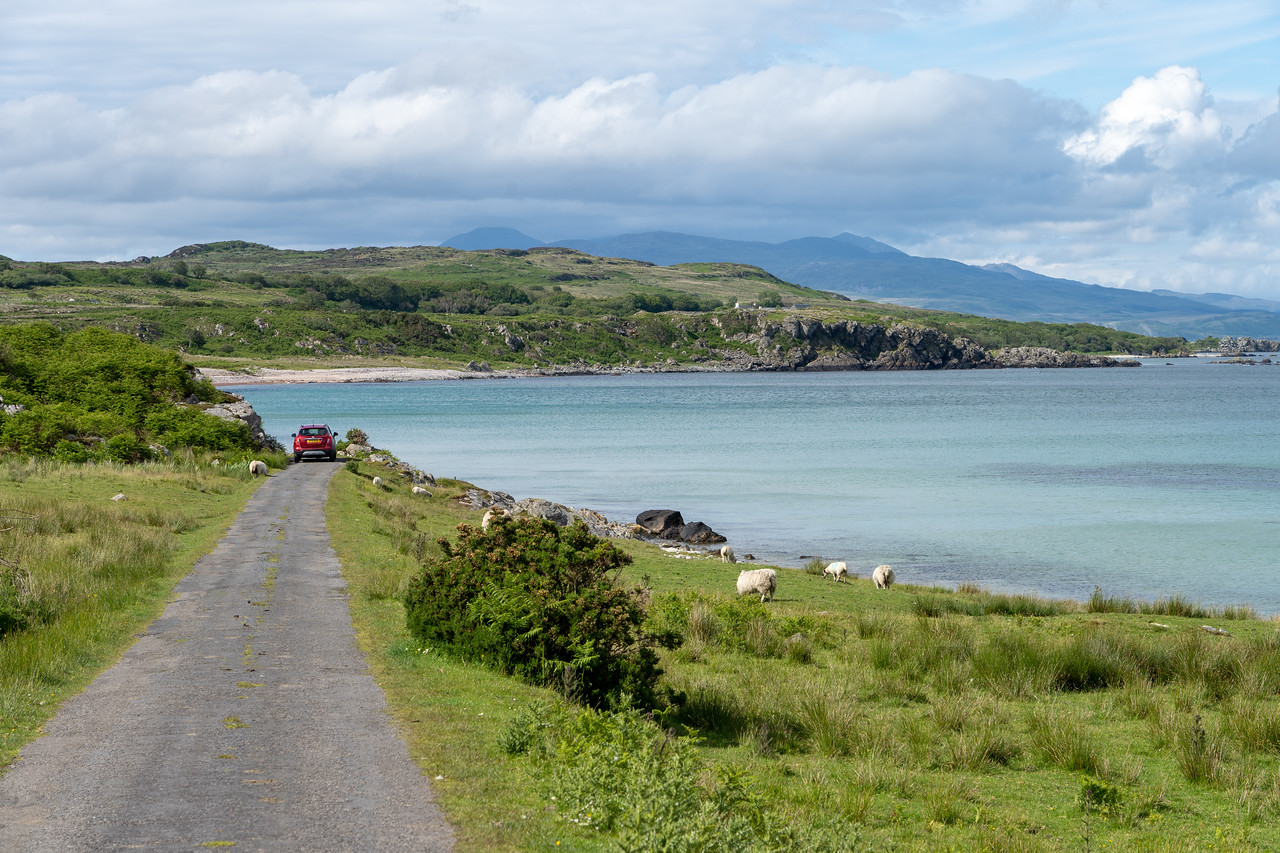 A single track road at Claggain Bay on Islay