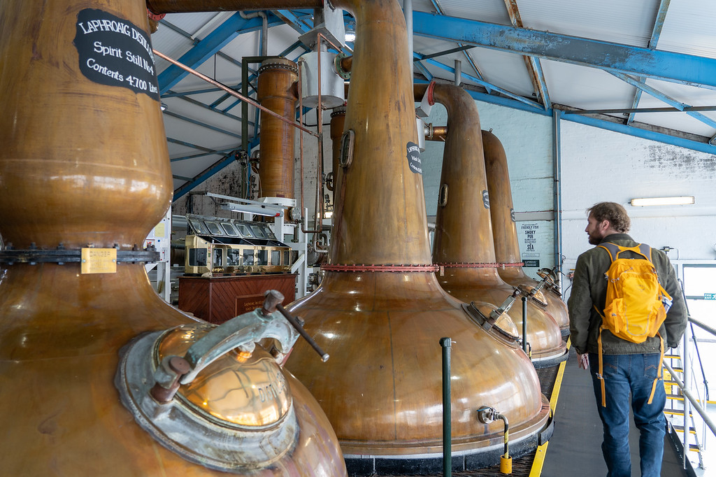 Copper stills at Laphroaig Distillery