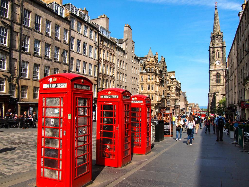 Red phone boxes in Edinburgh