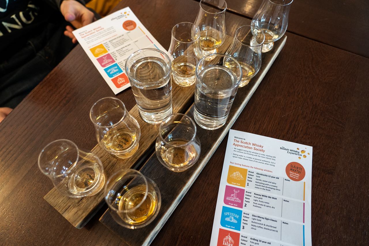 Whisky flight at the Scotch Whisky Experience