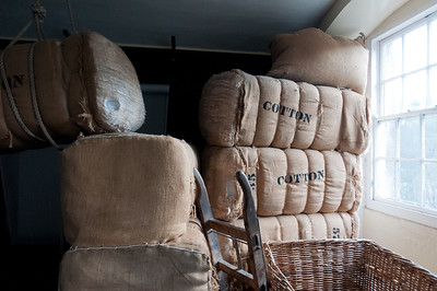 Milled cotton at the Robert Owen Mill Museum in New Lanark, Scotland