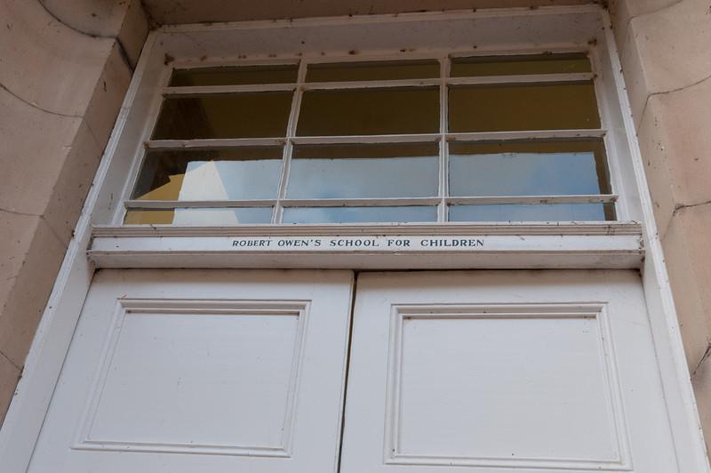 Entrance door to Robert Owen's school for children in New Lanark, Scotland