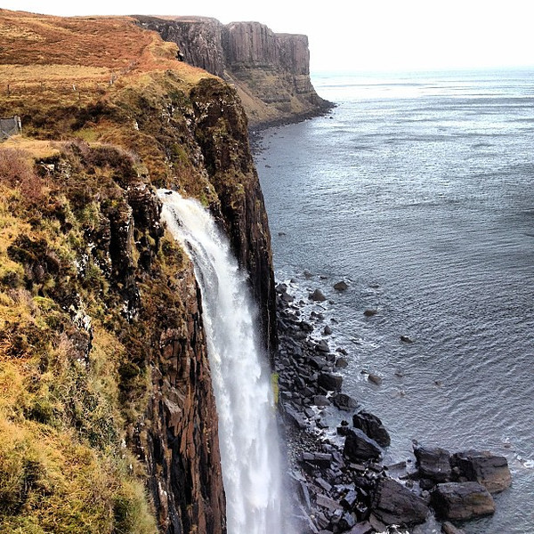 Kilt Falls spills into the sea at Staffin, Isle of Skye #Scotland #blogmanay