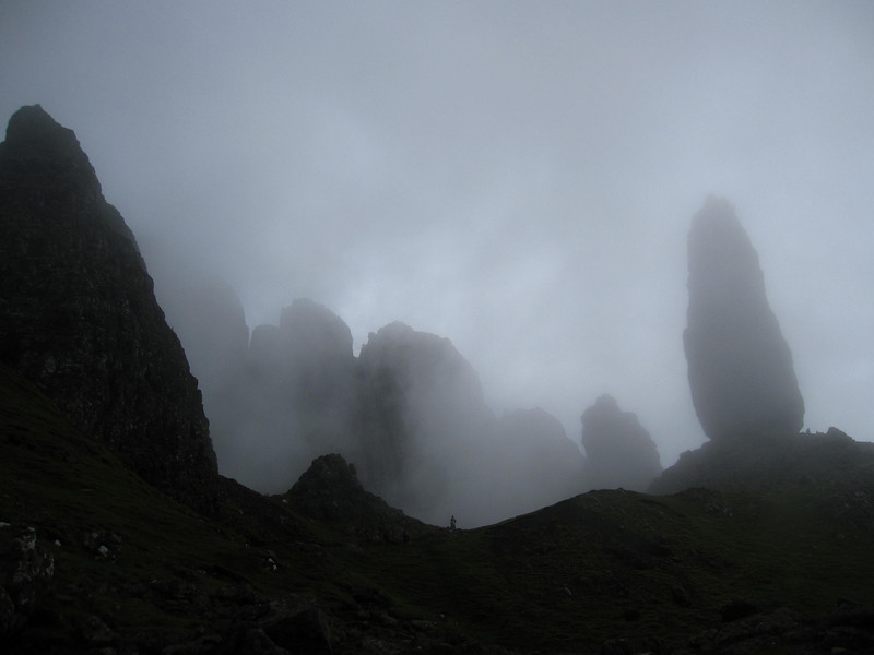 Eerie fog rolled in over the Old Man of Storr on my hike.