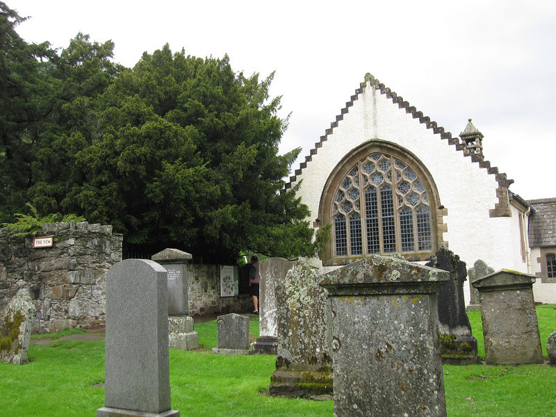 The small Fortingall Church and graveyard in Scotland