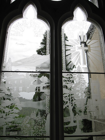 Etched glass window in the tiny Fortingall church