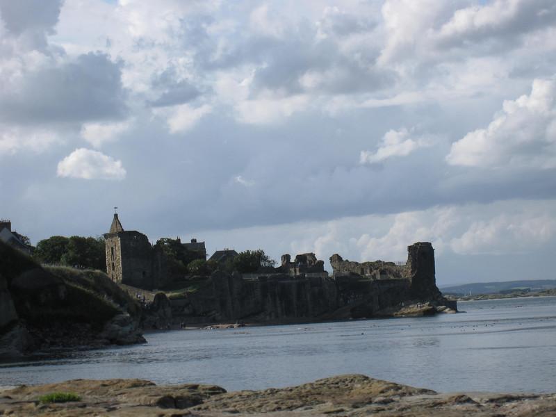 ruins and coastline near St. Andrews, Scotland.
