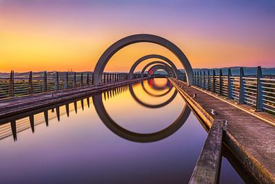 Falkirk Wheel at sunset, Scotland, United Kingdom