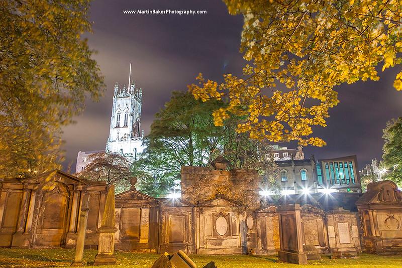 St. John's Church and St. Cuthbert's Cemetery, Edinburgh, Scotland.