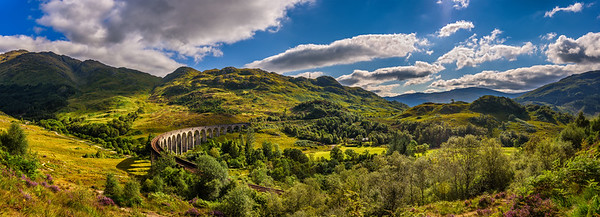 Panorama of Glenfinnan Railway Viaduct in Scotland