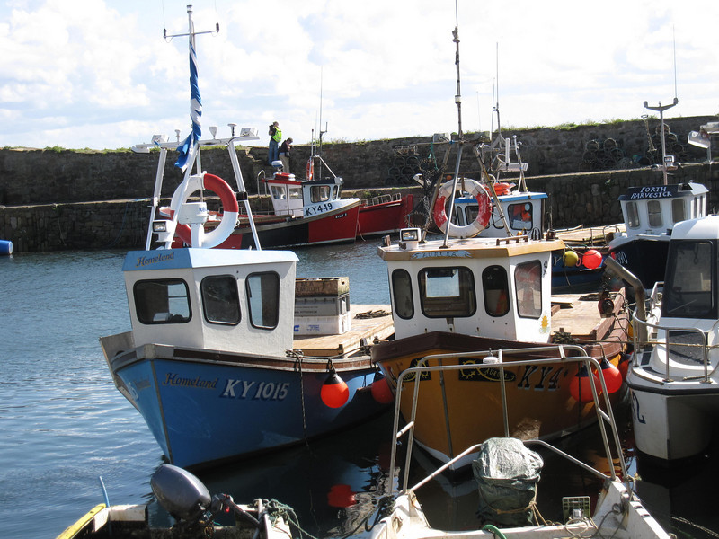 Boats bobbing in tiny Crail Harbor