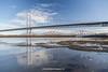 Forth Road Bridge and Forth Bridge, South Queensferry, Edinburgh, Lothian, Scotland.