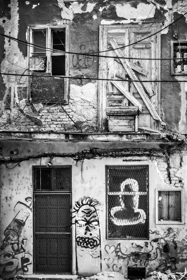 Old façade. The art of time.