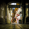 Artistic capture in a shopping alley.