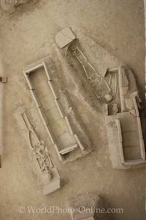 Viminacium - Necropolis - Skeletons of mother and children at top