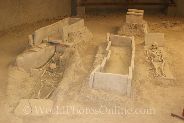 Viminacium - Necropolis - Skeletons of mother and children at right