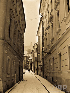 BRATISLAVA WINTER STREETS BLACK AND WHITE