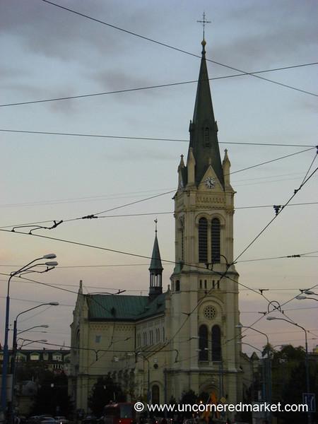 Tram Lines, Church - Bratislava, Slovakia