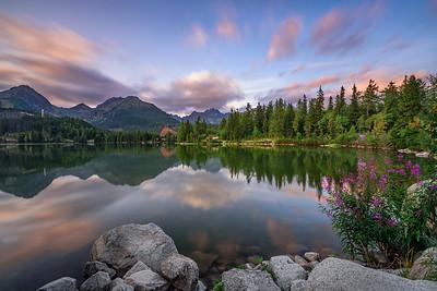 Mountain lake Strbske Pleso in National Park High Tatra, Slovakia