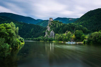 Ruins of the Strecno Castle and the Vah river in Slovakia